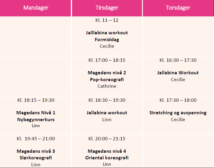 Timeplan for magedanskurs og Jallabina workout for Mars - Juni 2019.