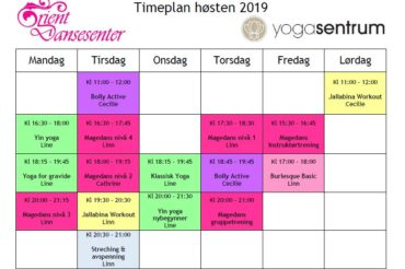 Timeplan høsten 2019