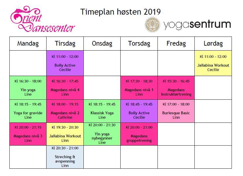 Timeplan høsten 2019, oversikt over alle timer.