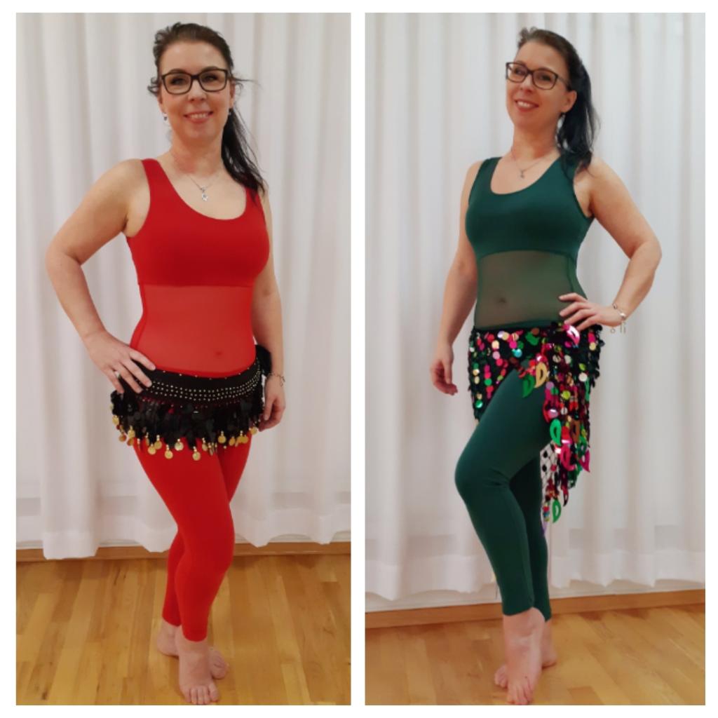 Cecilie viser rød og grønn treningsdress